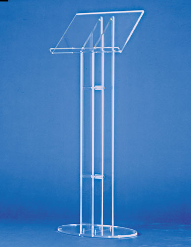 Freestanding lectern in plexi