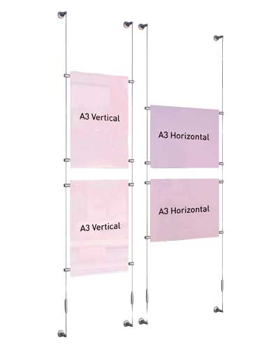 Poster holder complete kit on cable wall-wall