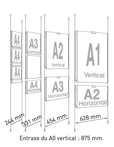 Porte-affiche transparent pour câble et tige