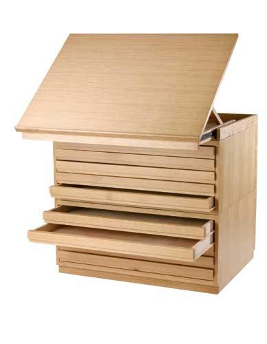 Meuble à plans en bois