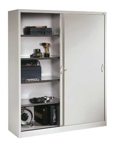Cabinet with solid sliding door